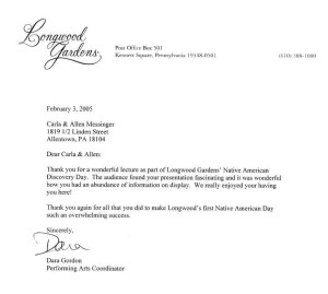Longwood Gardens letter
