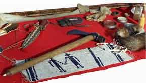 Wampum belt & tomahawk